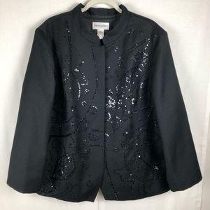 Bloomingdales Sequins Black Wool Blazer 24W